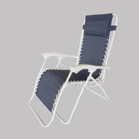 Foldable Reclining Zero Gravity Chair, Marine Blue with white frame