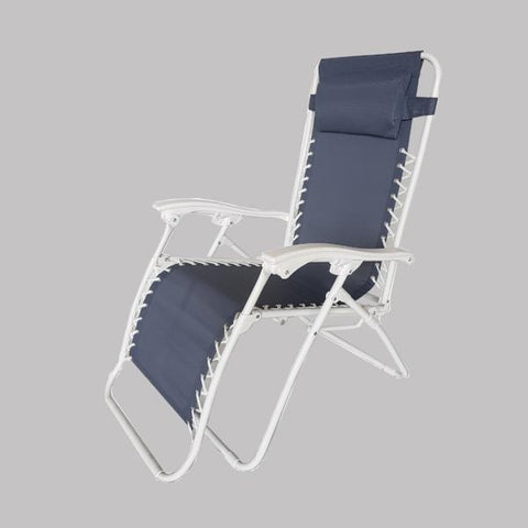 Foldable Reclining Zero Gravity Chair, Light Blue with white frame