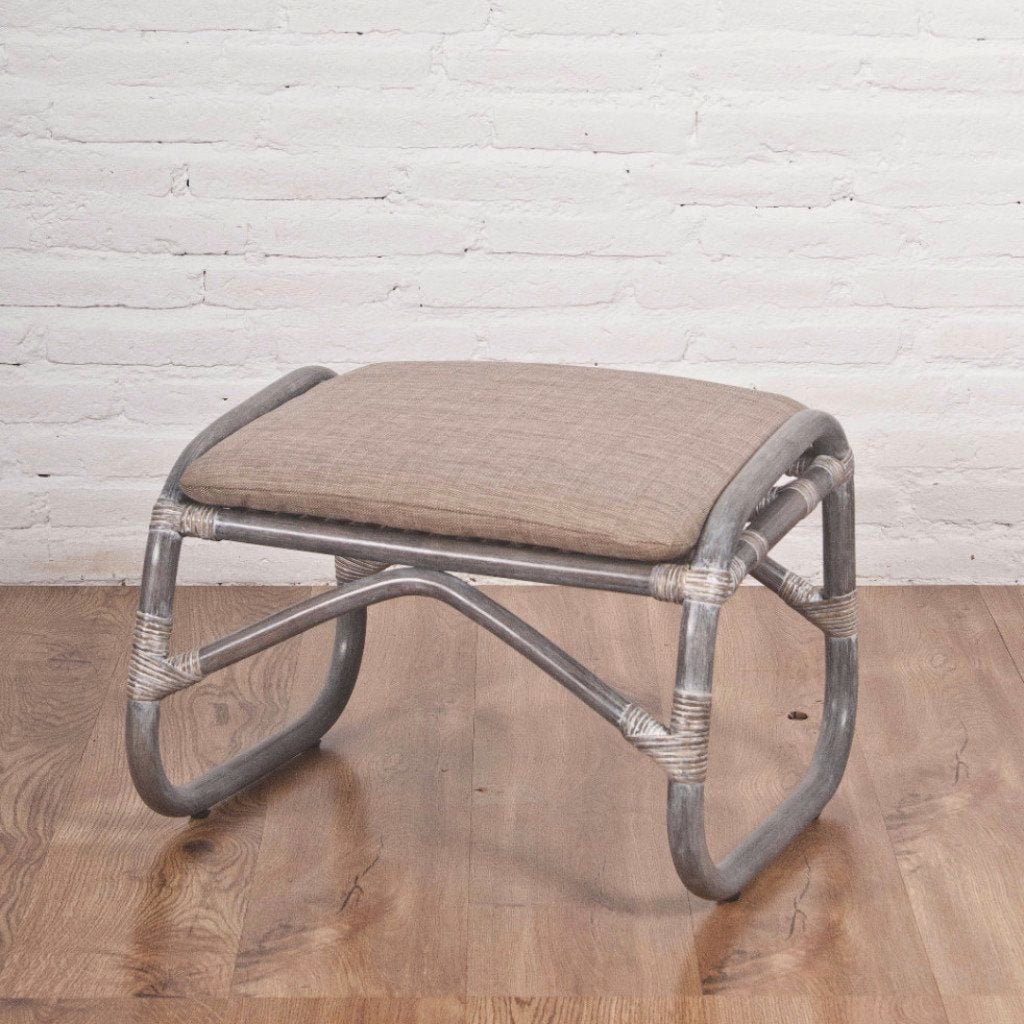 Rattan Foot Stool , grey wash
