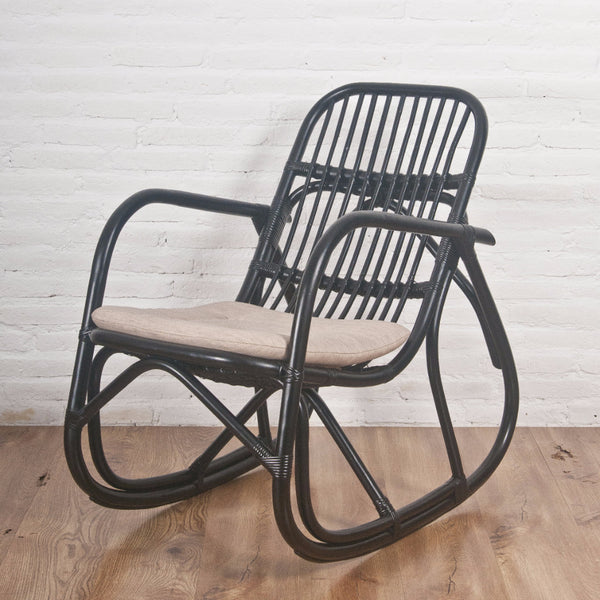 black rattan rocker rocking chair
