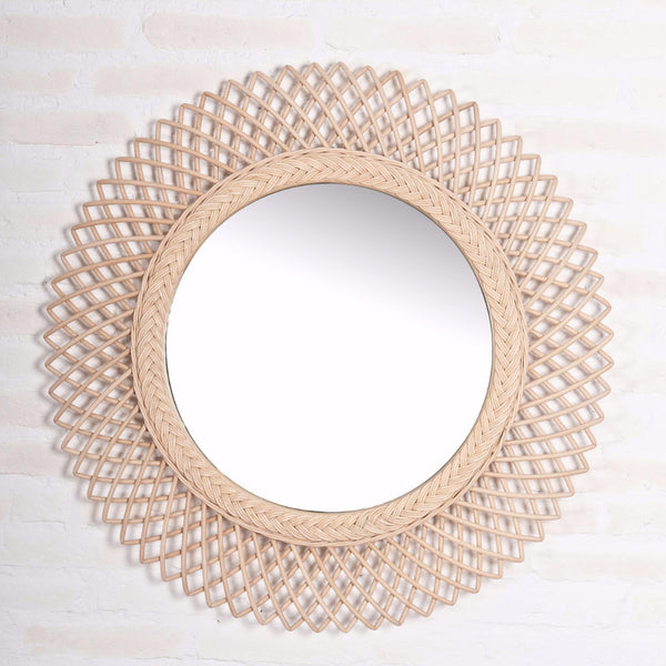 Sol Mirror in rattan frame