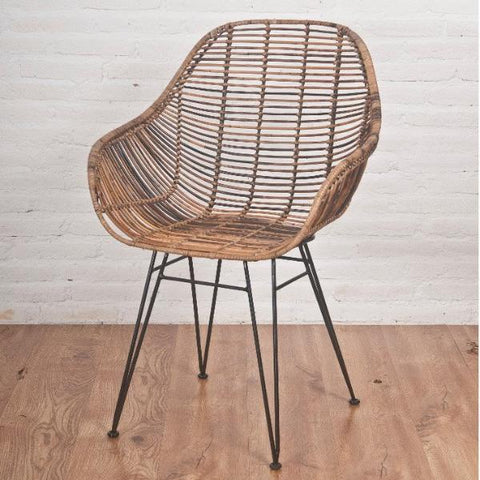 Viggo rattan dining chair with metal legs, Brown