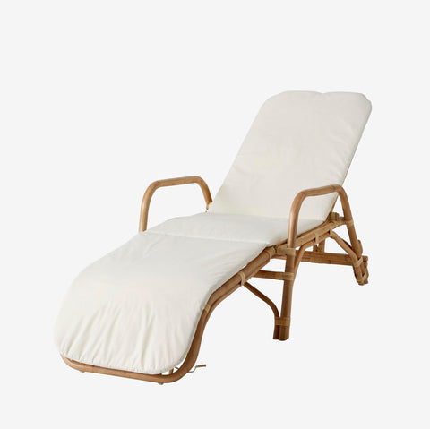 Honolulu Rattan Sun Lounger , Natural with cushion