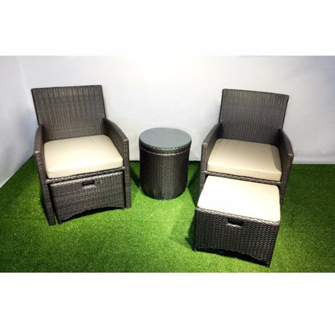 ... BARCELONA Outdoor Wicker Table And Chairs And Foot Stool Set ...