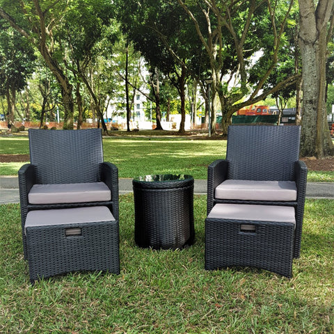 wicker armchair set with storage table