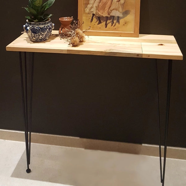 leaning table wood console