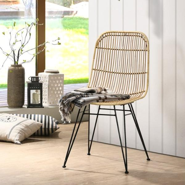 Espresso rattan dining chair, Natural