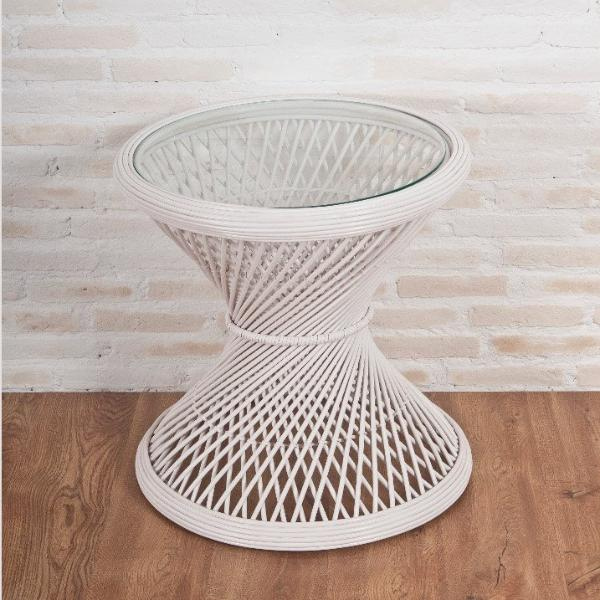 Grand Peacock table with Tempered glass, White