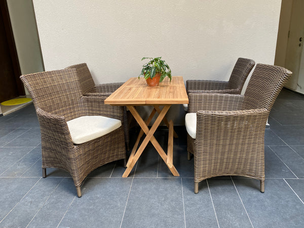 Ottawa Wicker Chairs With Rect Teak Table