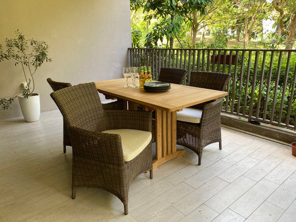 Ottawa Wicker Chairs With Rect Teak Table 110/150x80 cm