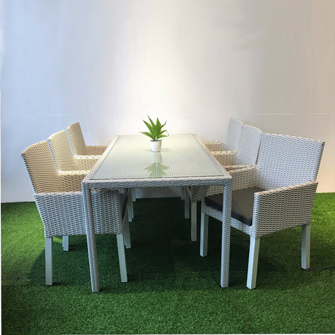 Indiana white wicker dining set with 2m table and 6 chairs