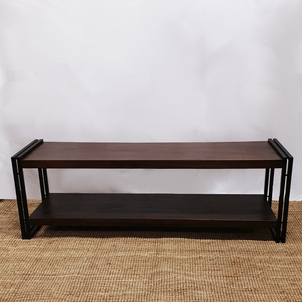 Teak wood and wrought iron TV bench