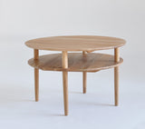 round solid wood oak coffee table with shelf singapore
