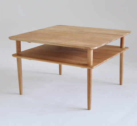 Square oak retro coffee table