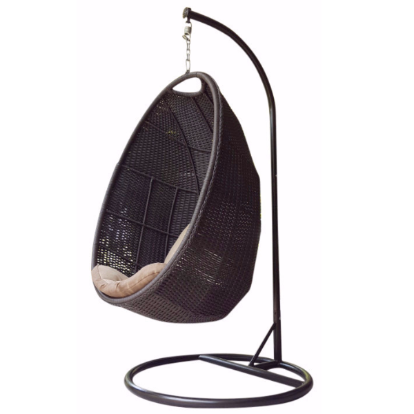 Wicker Basket Hanging Swing Chair with Stand