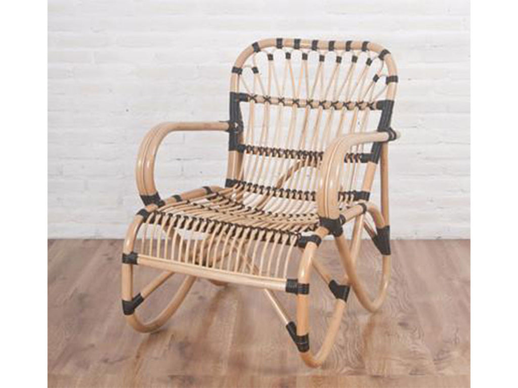 Maya rattan lounger chair, natural with poly binding. Comes with black cushion.