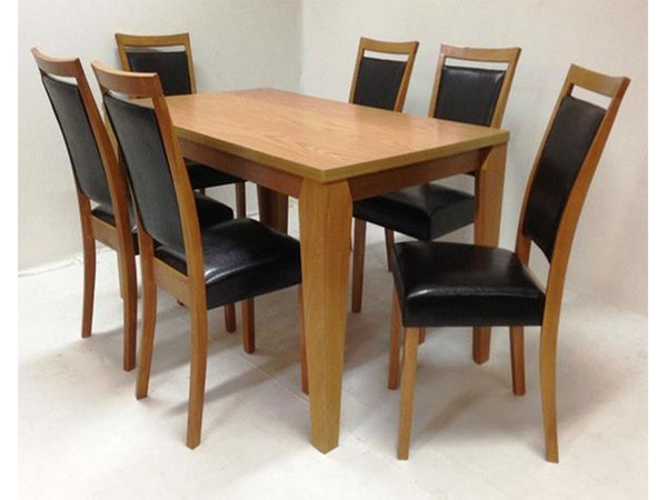 Wooden dining table set with 6 chairs and 150cm table