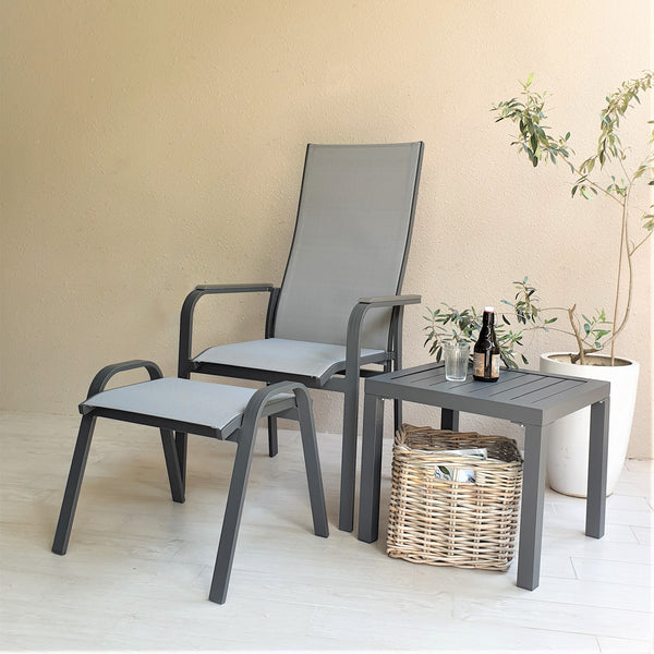 Pisa balcony recliner chair set with side table, grey