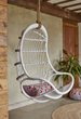 Sandra hanging rattan swing chair in white, with cushion
