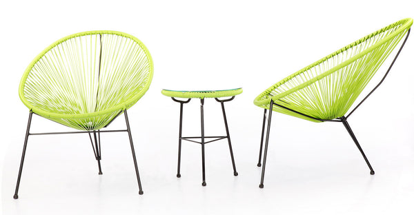 STRING table and chairs set, lime green.