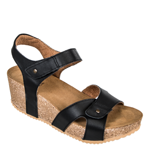 0bc984a64f6 BROOK in BLACK Wedge Sandals