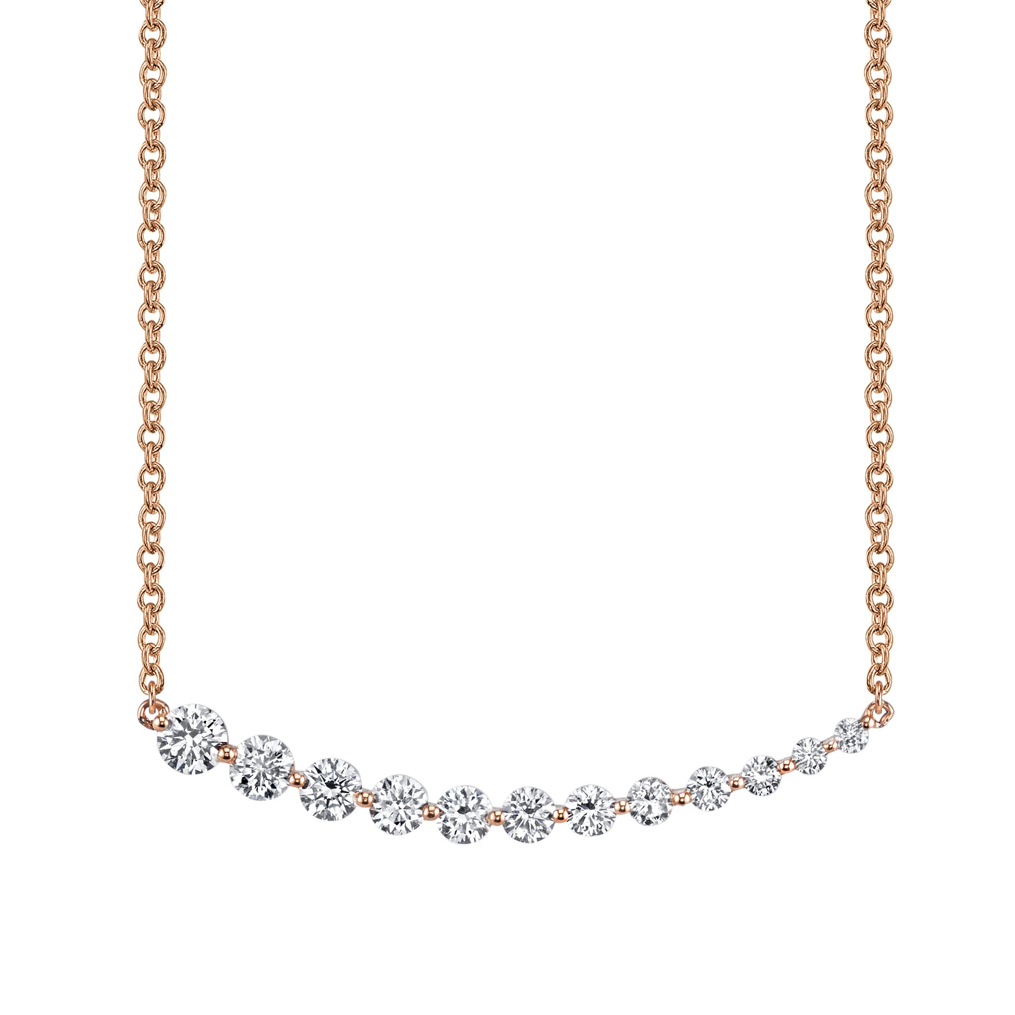 link gold cttw f necklace tennis round shiny g graduated cut vs white si diamond