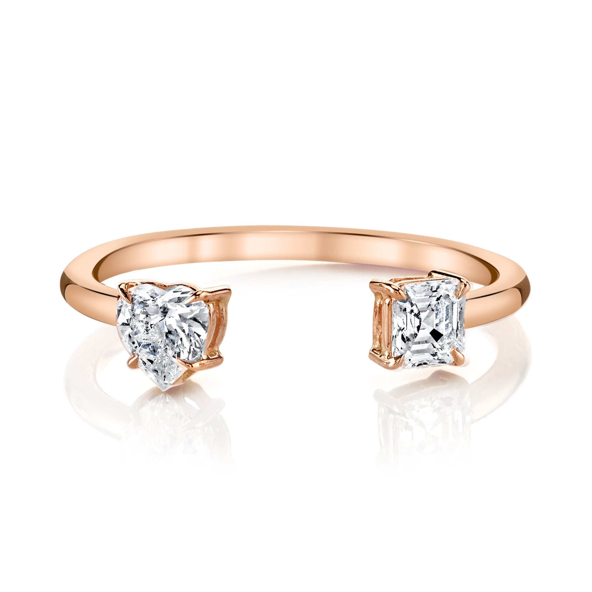 ct h ring three rings cut asscher asher in stone diamond platinum engagement