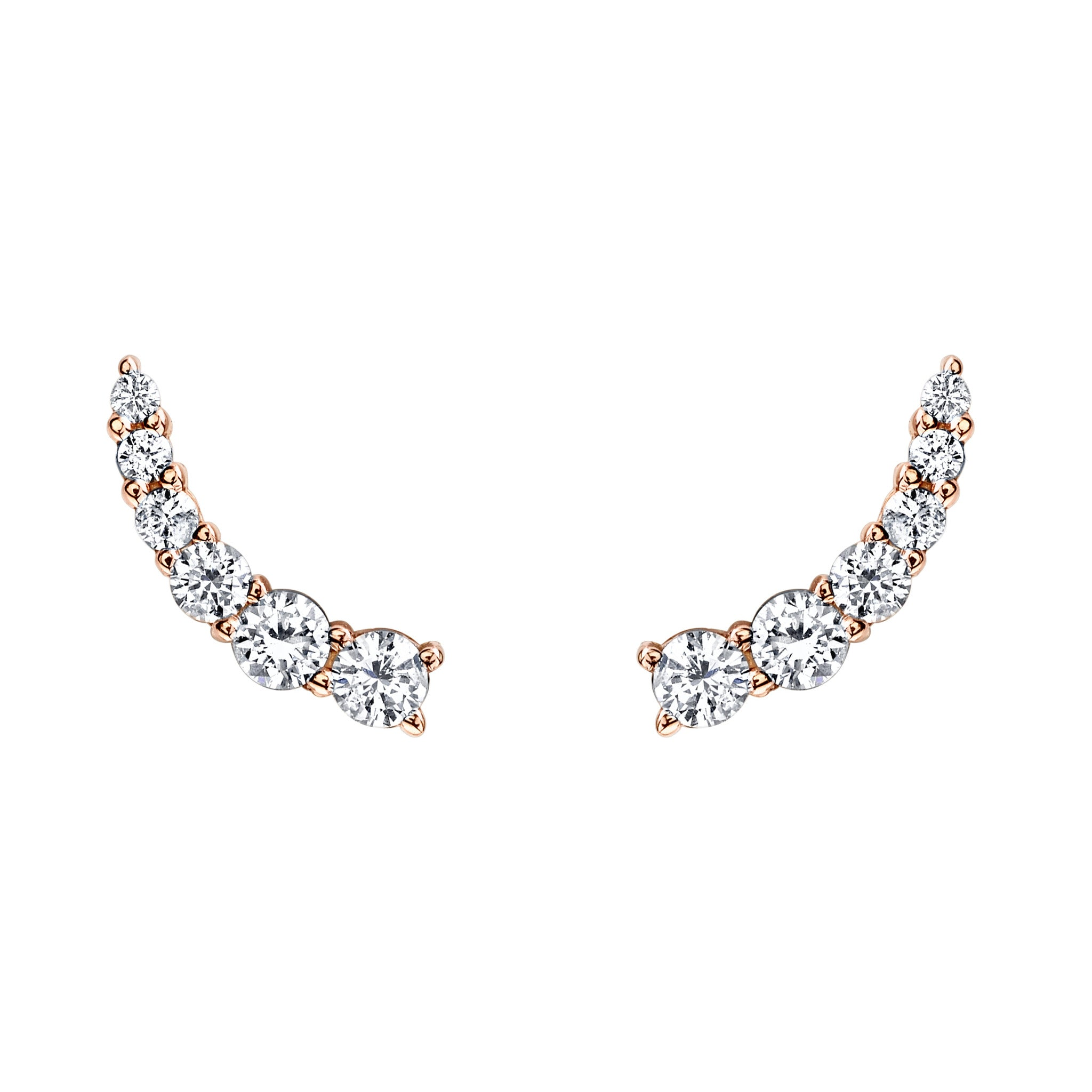 earrings gold stud prong certified diamond basket white round product
