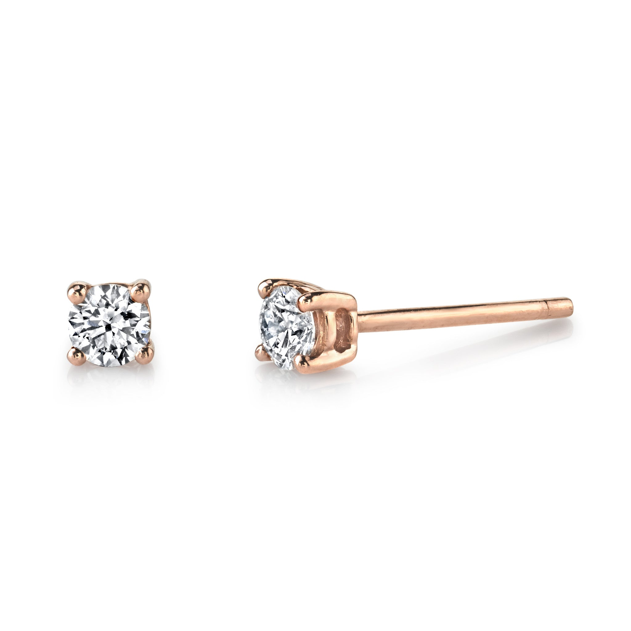 dia brown genuine solitaire diamond knot a ladies gold rg earrings round stud love itm