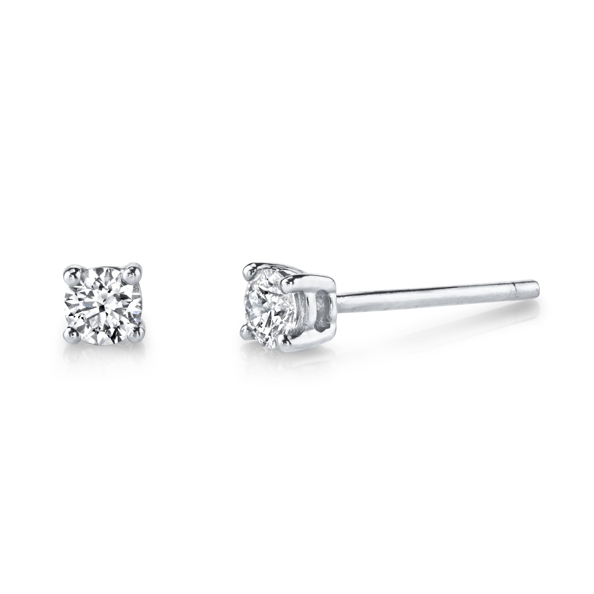 of gold product prong white hearts on diamond fire stud earrings picture three