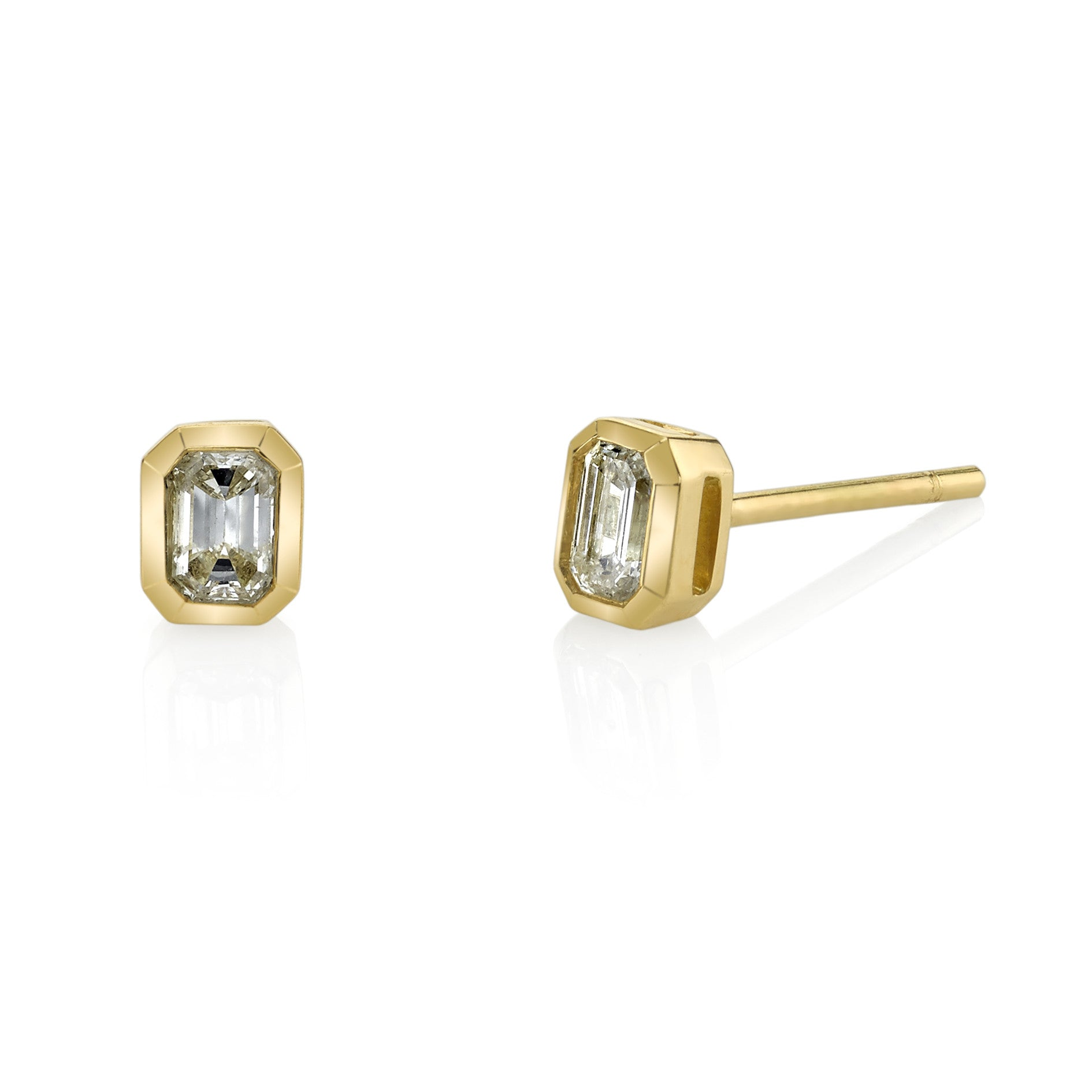 gold diamond in square cut prong yellow men k stud earrings princess