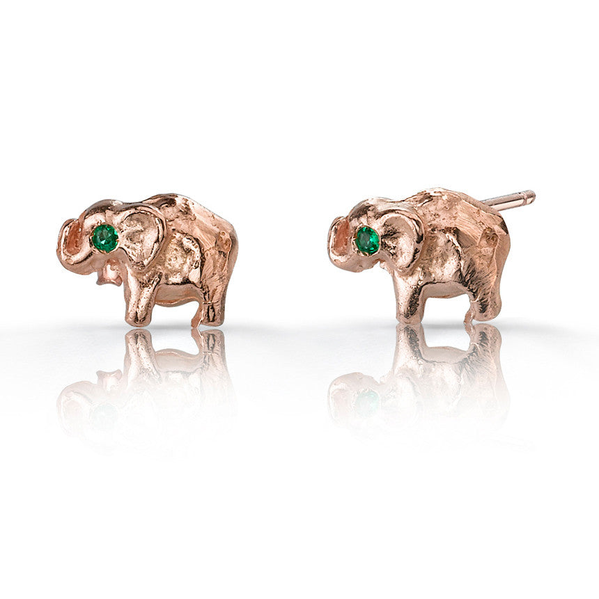 s claire stud elephant rhinestone earrings