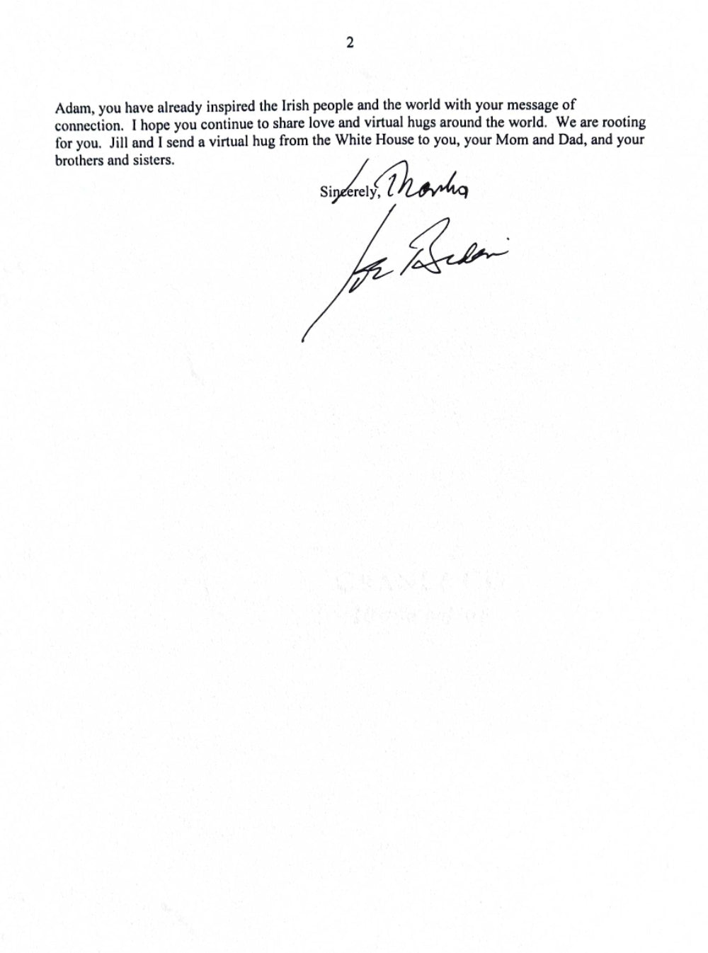 Letter from White House to Adam page two