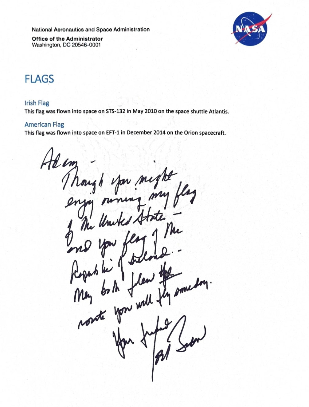Letter from White House about flags in space