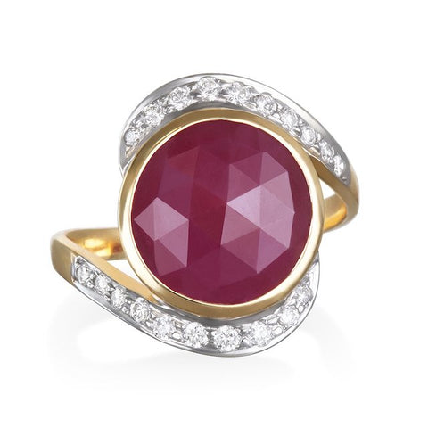 14K RUBY RING WITH WHITE DIAMONDS