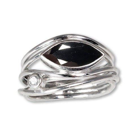 EAST WEST SILVER MARQUISE RING - BLACK SPINEL