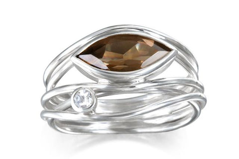 ring with white sapphire stone
