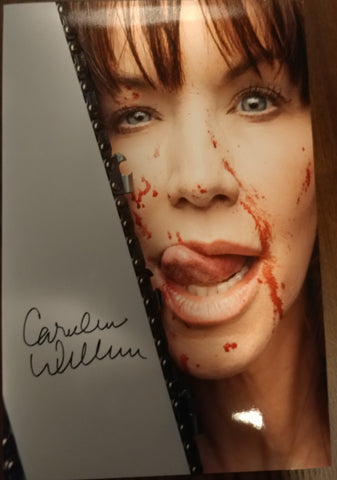 Caroline Williams - Lick signed 8x12 (damaged)