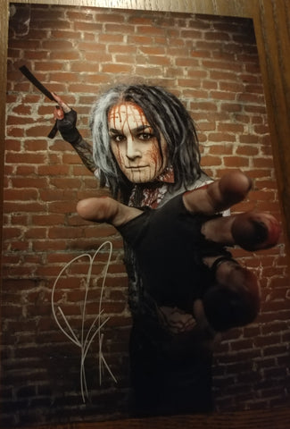 Ghost - Sweeny Todd Grab signed 8x12 (damaged)