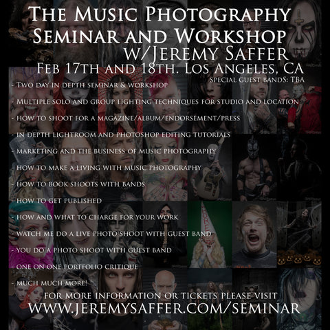 Music Photography Seminar and Workshop Ticket - February 2018