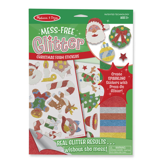 Melissa & Doug - Mess-Free Glitter - Christmas Foam Stickers - Toot Toot Toys