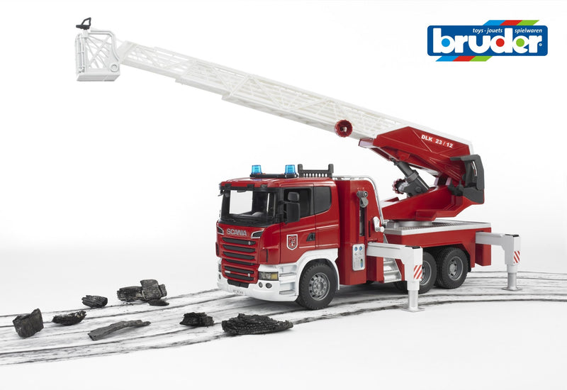 Bruder - Scania R-Series Fire Engine, Slewing Ladder, Water Pump (03590) - Toot Toot Toys