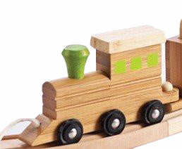 EverEarth Bamboo Name Train Engine - Green - Toot Toot Toys