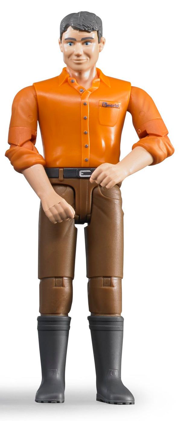 Bruder - Bworld Figure - Man, light skin in Brown Jeans (60007) - Toot Toot Toys