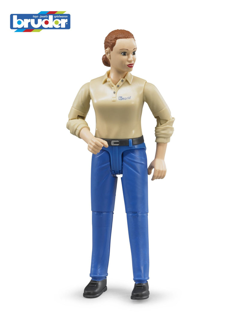 Bruder - Bworld Figure - Woman light skin in Blue Jeans (60408) - Toot Toot Toys