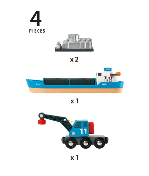 BRIO - Freight Ship and Crane (33534) - Toot Toot Toys
