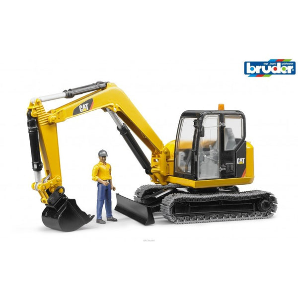 Bruder - 1:16 CAT Caterpillar Mini Excavator with Worker (02466) - Toot Toot Toys