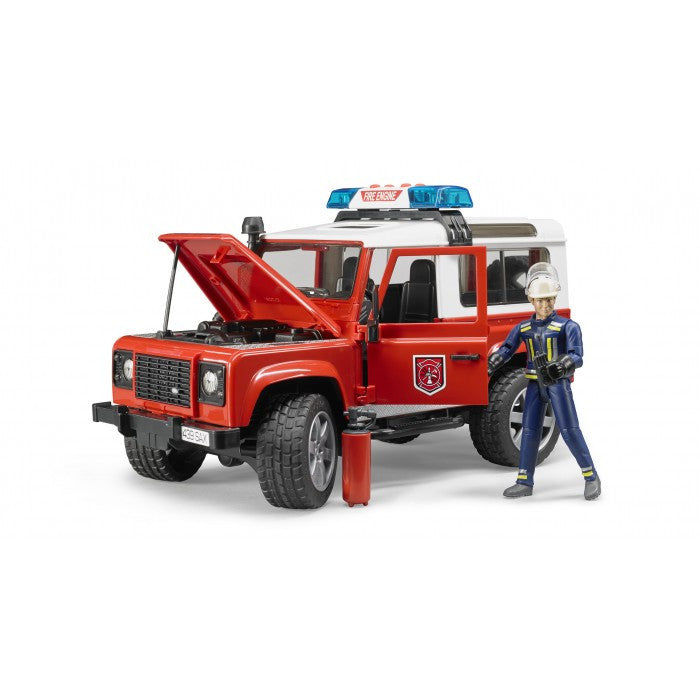 Bruder - Land Rover Defender Wagon - Fire Department (02596) - Toot Toot Toys