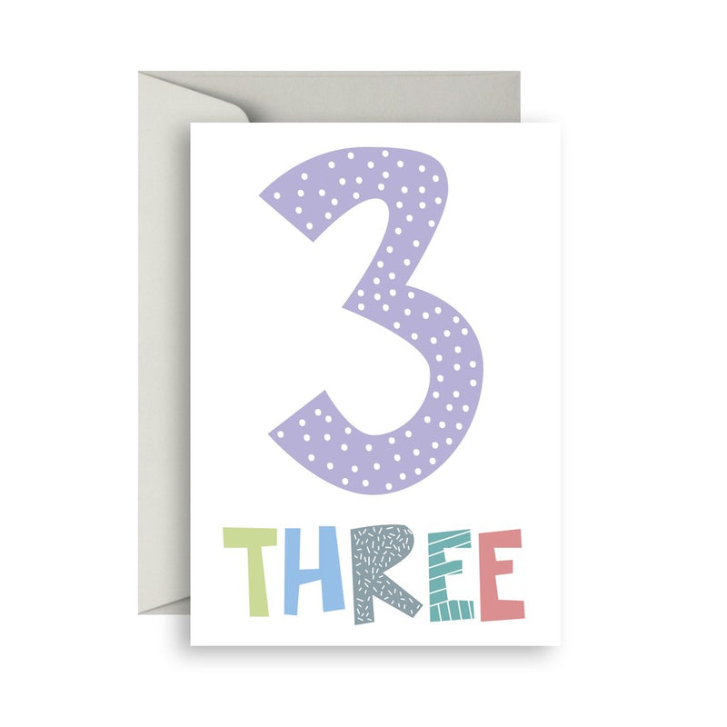 Number Birthday Cards- 3 - Toot Toot Toys