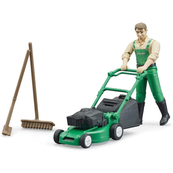 Bruder - Bworld Figure - Gardener with Lawn Mower and Garden Tools (62103)